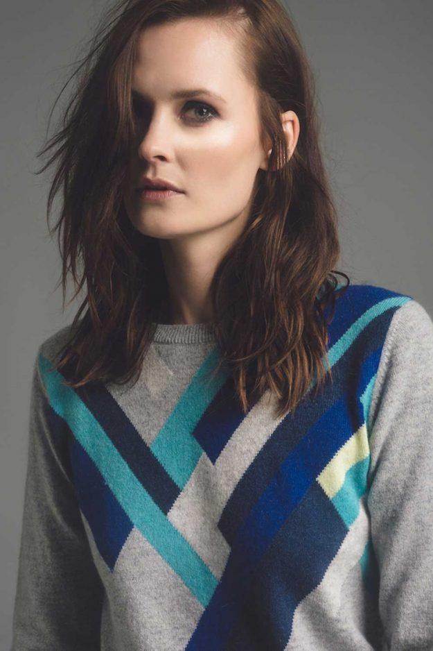 Geometric blue cashmere sweater