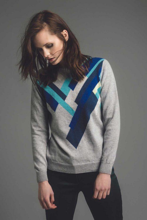 Geometric cashmere hand intarsia jumper