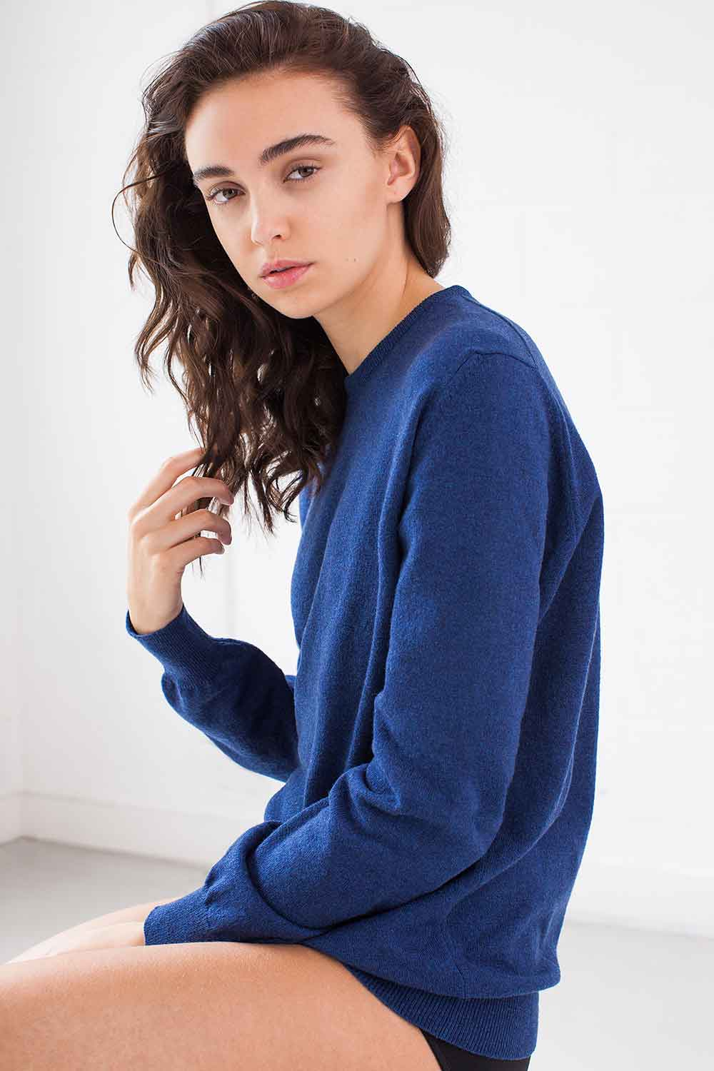blue cashmere ladies pullover made in Britain
