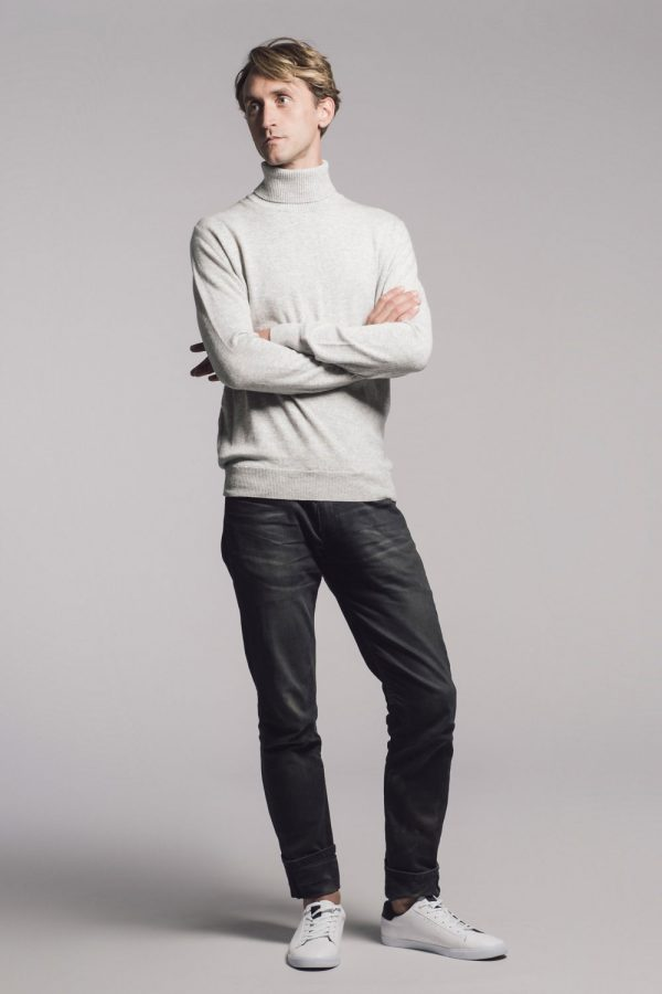 Mens cashmere grey roll neck sweater