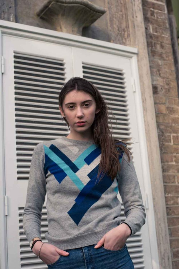 geometric cashmere sweater hand intarsia made in britain