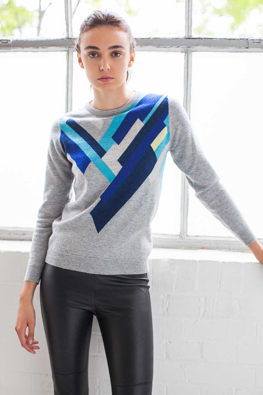 Grey Blue cashmere hand intarsia jumper