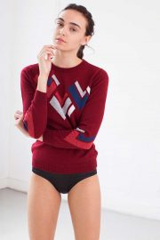 Red Cashmere Sweater Hand Intarsia