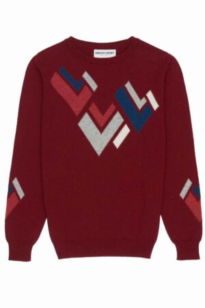 womens red cashmere jumper geometric hand intarsia made in Scotland