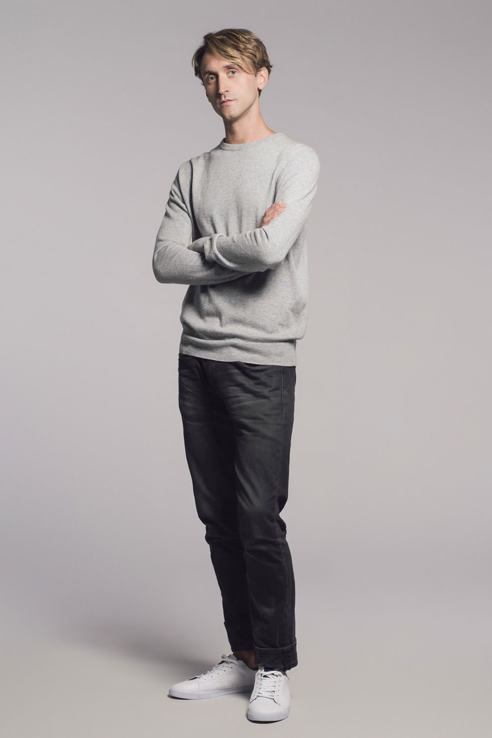 mens grey cashmere made in britain