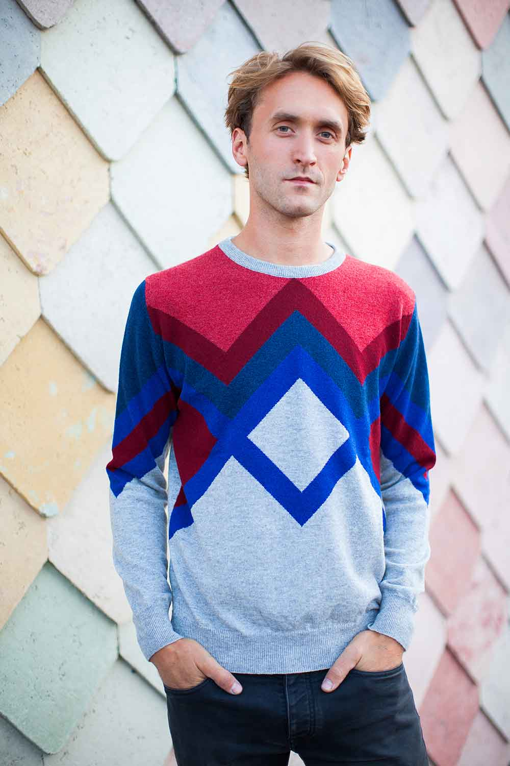 Geometric Red Cashmere Mens Hand Intarsia Sweater