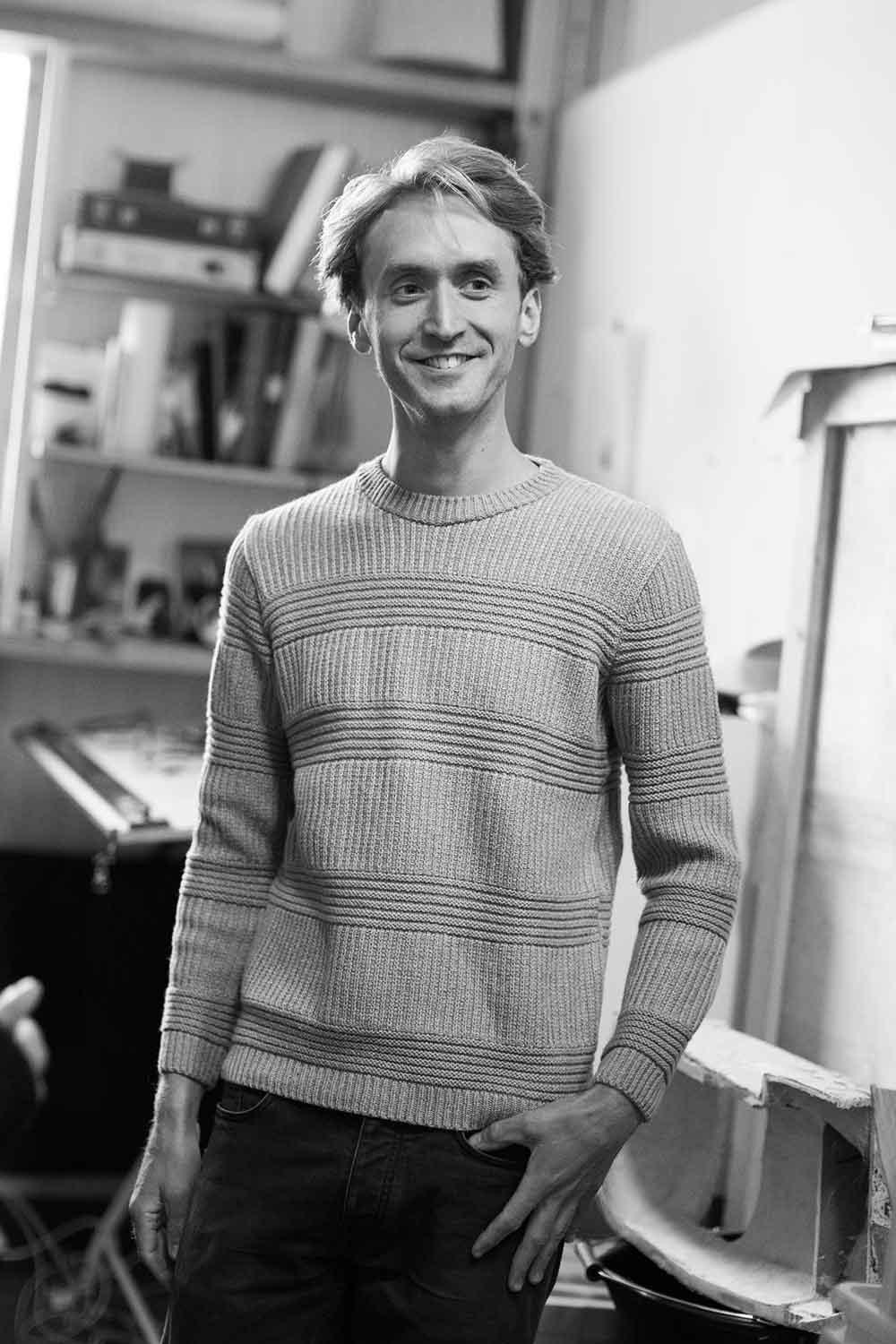 Artist Andrew Friend wears the Oban Jumper