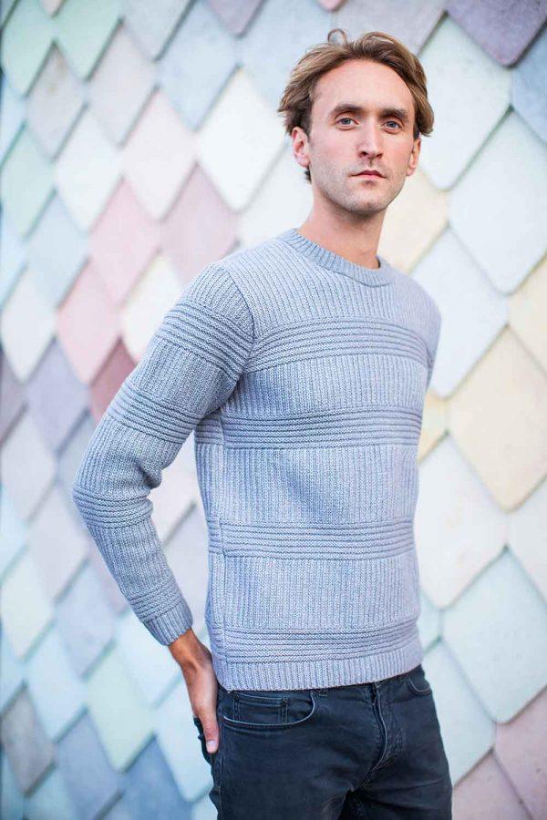 Mens Textured Grey Merino Cotton Jumper