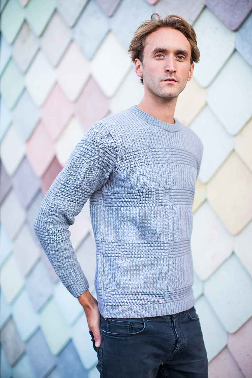 Mens Textured Grey Merino Cotton Jumper