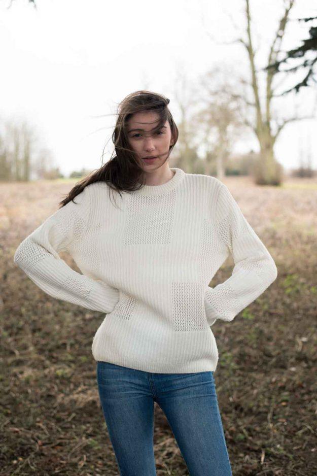 chunky cosy jumper in wool cashmere ecru