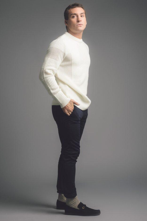 Cream mens wool cashmere sweater