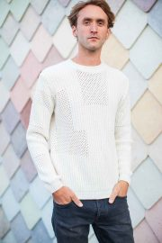 Mens Off white wool cashmere textured jumper