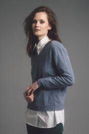 Merino Cashmere V neck Jumper made in Britain