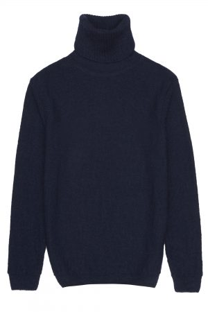 Roll neck navy mohair jumper