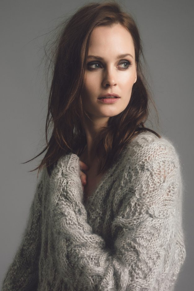 Hand knitted grey cable jumper