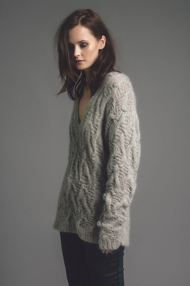 hand knit sweater made in britian cable texture
