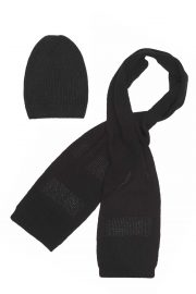 Black Wool Cashmere Scarf & Beanie Set