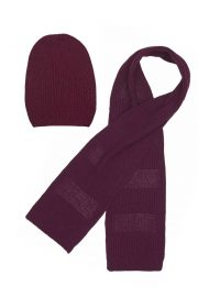 wool cashmere burgundy scarf and beanie set