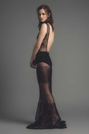 Backless Black Lace Dress made in Britain