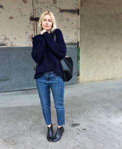 Genevieve Sweeney Boucle Navy Knitwear