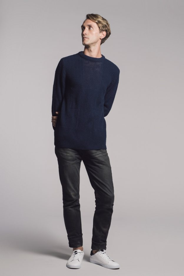 Wool Cashmere Mens Jumper with stitch placement