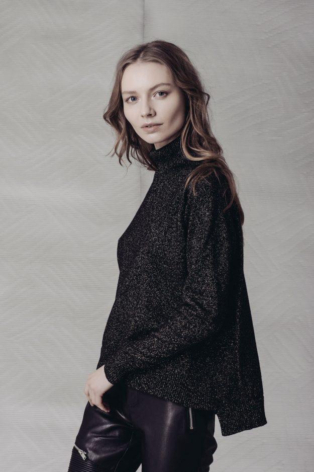 Womens merino cashmere lurex roll neck jumper