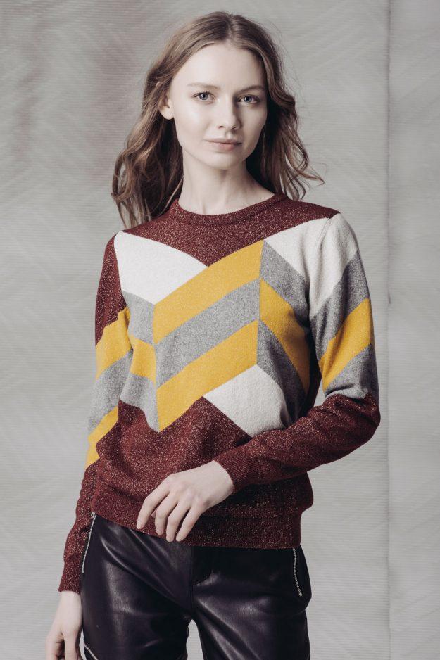 Hand Intarsia merino cashmere womens jumper