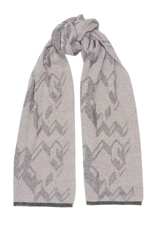merino cashmere khaki jacquard scarf