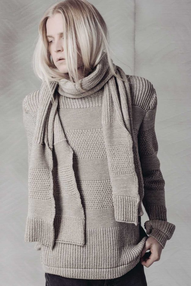 Mens textured stripe jumper with scarf