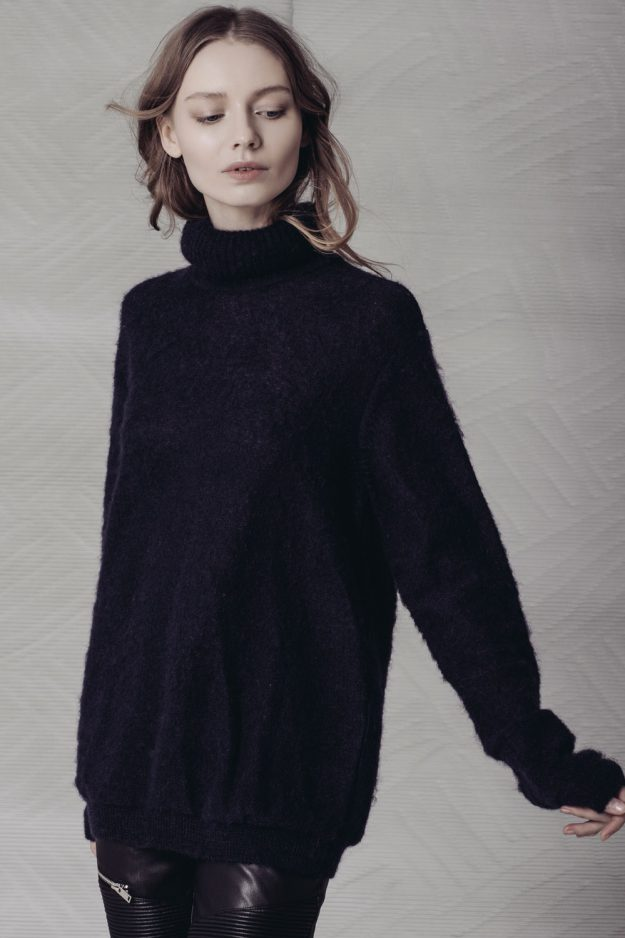 mohair roll neck jumper made in britain