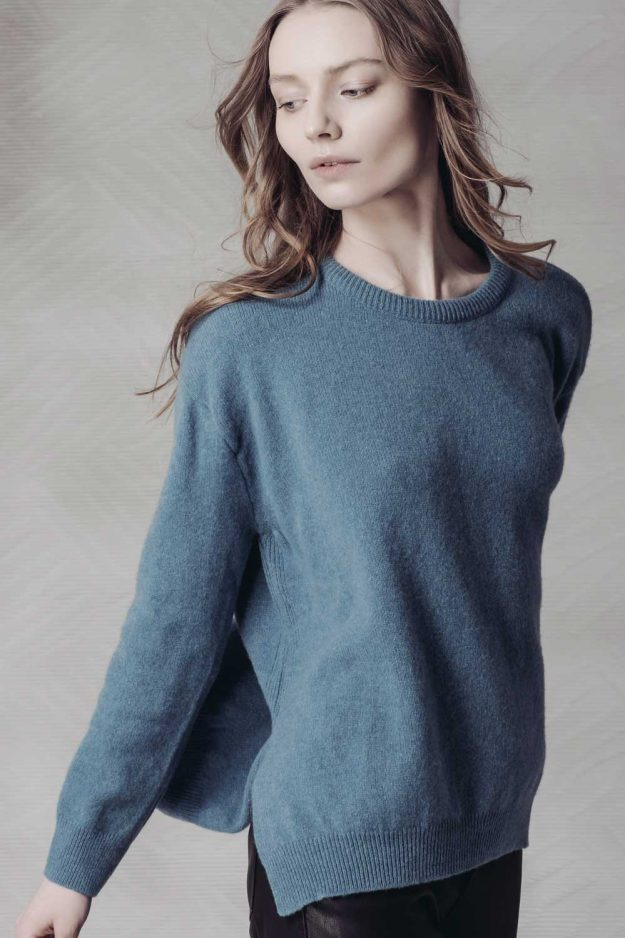 womens lambwool turquoise jumper made in britain
