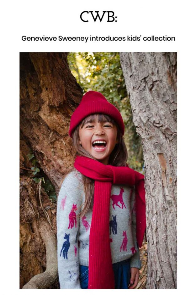 Kids alpaca illustration jumper with red lambswool accessories
