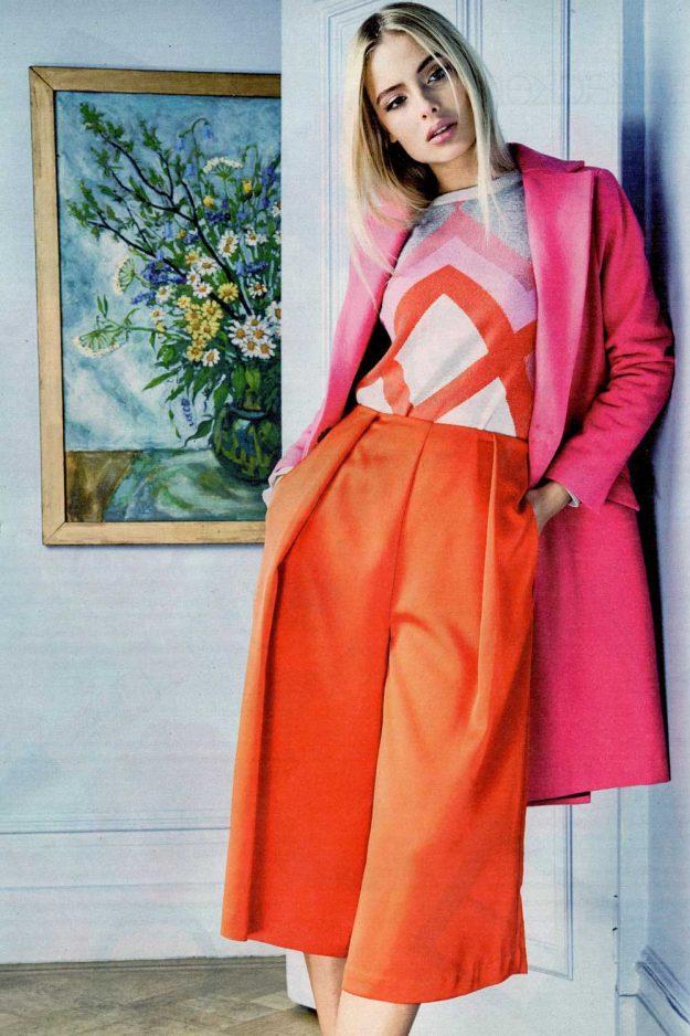Geometric pink cashmere jumper made in Britain