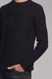 Mens Black Cotton Merino Jumper