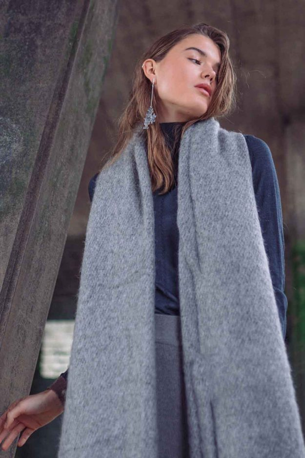 Silk Roll neck jumper with cosy wool scarf