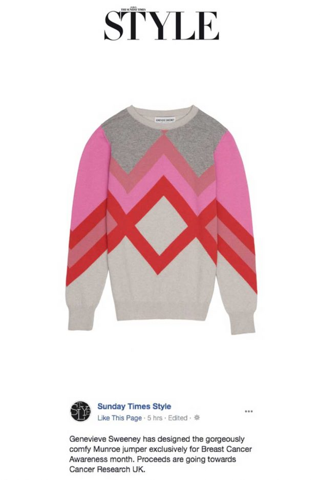 Pink Hand Intarsia Cashmere Breast Cancer Awareness