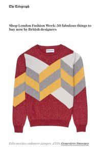 Telegraph Fashion Best Designers LFW Hand Intarsia jumper