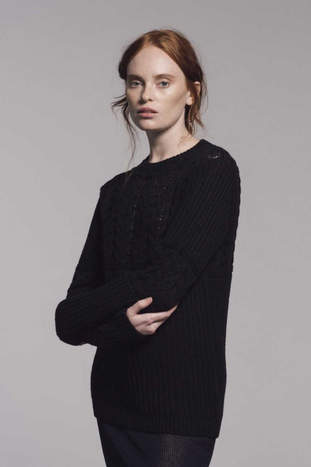 Black Cable Merino Cotton Jumper