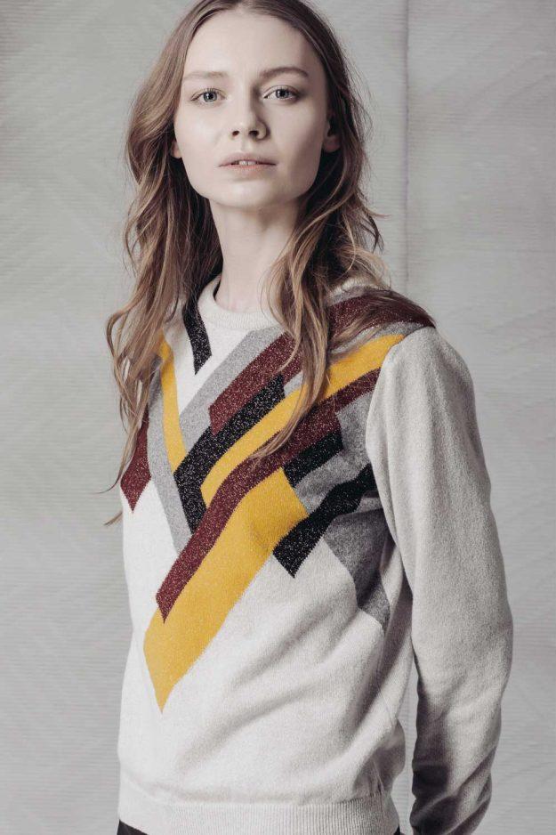 Hand Intarsia Geometric Sparkly knitwear