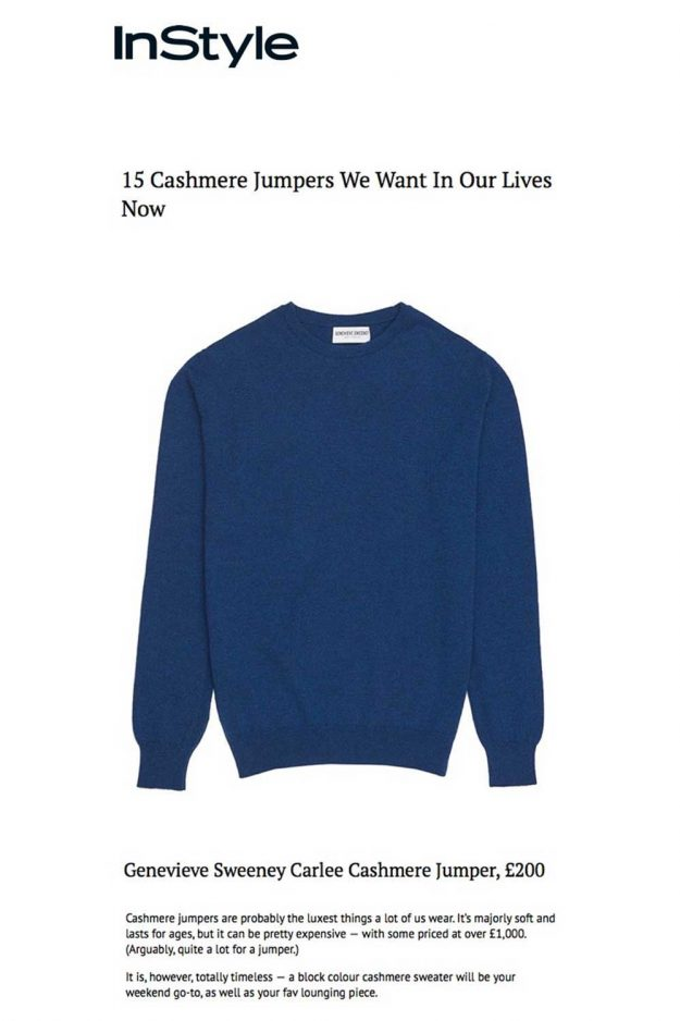 Sartorial cashmere jumper made in Britain