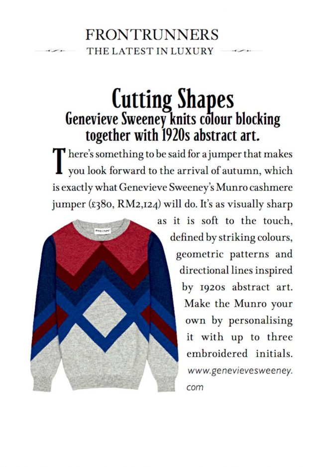 Luxury Magazine features cashmere sweater hand intarsia