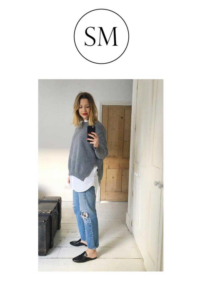Grey melange slouch jumper, made in Britain