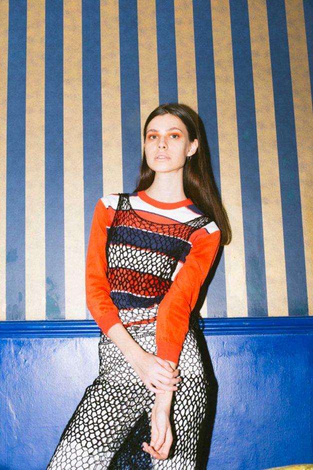 Black crochet dress layer over jumper