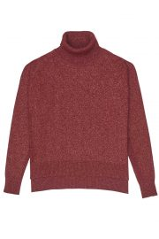 Red rollneck lurex sweater