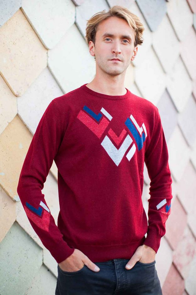 Mens Hand Intarsia Red Cashmere Jumper