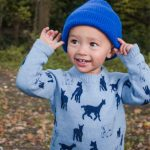 Kids merino blue jumper with blue beanie