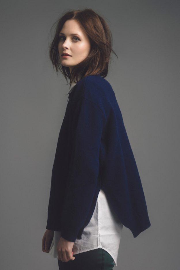 womens navy lambswool sweater