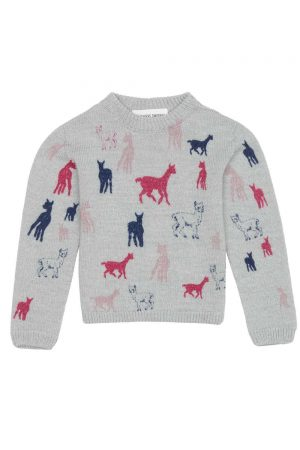 childrens pink motif alpaca jumper
