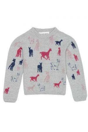 Kids Sweater Merino Pink Navy Motif