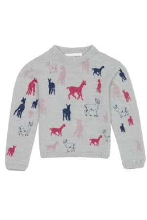 childrens pink motif alpaca jumper